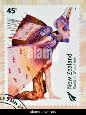 NEW ZEALAND - CIRCA 2004: Stamps printed in New Zealand dedicated to World of WearableArt shows Dragon Fish by Susan - Stock Photo