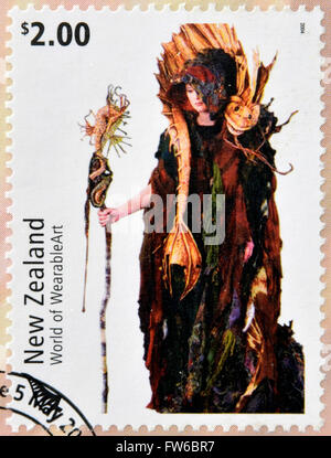 NEW ZEALAND - CIRCA 2004: Stamps printed in New Zealand dedicated to World of WearableArt shows Cailleach Na Mara - Stock Photo