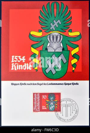 LIECHTENSTEIN - CIRCA 1981: A stamp printed in Liechtenstein  shows Arms of Kaspar Kindle, circa 1981 - Stock Photo