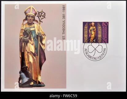 LIECHTENSTEIN - CIRCA 1981: A stamp printed in Liechtenstein shows St. Theodule, circa 1981 - Stock Photo