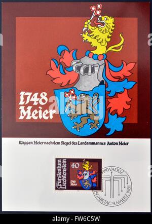 LIECHTENSTEIN - CIRCA 1981: A stamp printed in Liechtenstein  shows Arms of Anton Meier, circa 1981 - Stock Photo