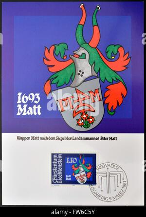LIECHTENSTEIN - CIRCA 1981: A stamp printed in Liechtenstein  shows Arms of Peter Matt, circa 1981 - Stock Photo