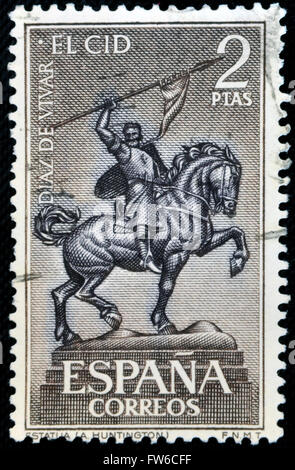 SPAIN - CIRCA 1962: a stamp printed in Spain shows Equestrian Statue of El Cid Campeador (Rodrigo Diaz de Vivar), - Stock Photo