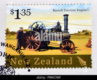 NEW ZEALAND - CIRCA 2004: A stamp printed in New Zealand dedicated to historic farm equipment, shows Burrell Traction - Stock Photo
