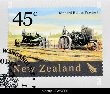 NEW ZEALAND - CIRCA 2004: A stamp printed in New Zealand dedicated to historic farm equipment, shows Kinnard Haines - Stock Photo