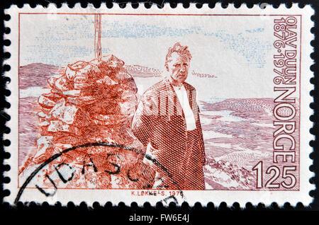 NORWAY - CIRCA 1976: a stamp printed in Norway shows Olav Duun, novelist, circa 1976 - Stock Photo