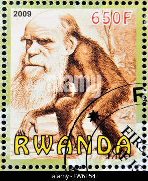 RWANDA - CIRCA 2009:  stamp printed in Rwanda dedicated to Charles Darwin, circa 2009 - Stock Photo