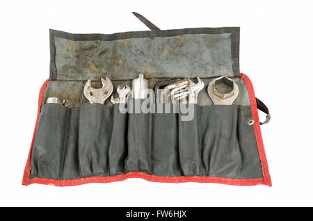 Old tool roll carried on an antique Airhead R75 motorcycle for many miles. From back in the days when you could - Stock Photo