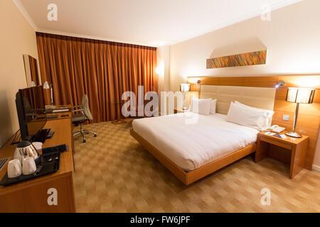 Hotel room of Hilton Diagonal Mar Barcelona, Spain - Stock Photo