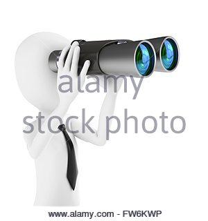 3d man businessman holding binoculars looking for opportunities on white background - Stock Photo