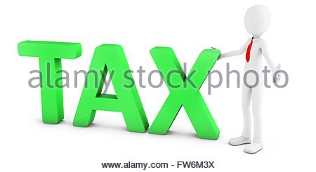 3d man with green tax text on white background - Stock Photo