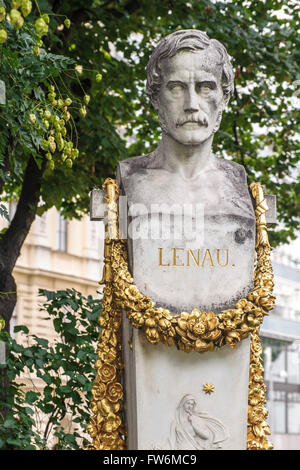 Nikolaus Lenau statue, on Schillerplatz. Born 13 August 1802 ;  22 August 1850 i. Austrian writer and poet of Biedermeier. - Stock Photo