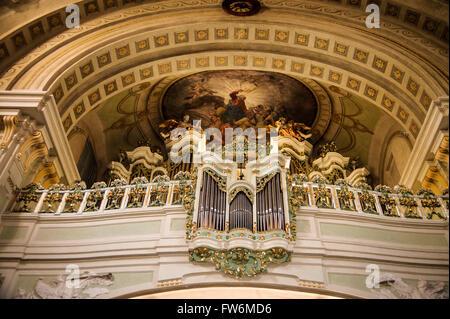 Lichtenthal Church organ. Franz Schubert, Austrian composer, played on this instrument. He was baptised in the Lichtenthal - Stock Photo
