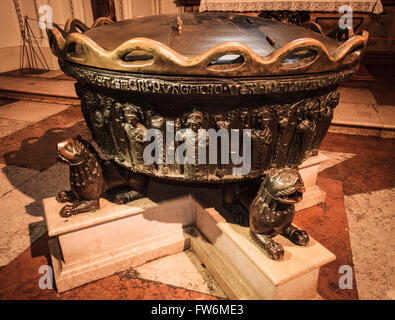 Mozart baptismal font. The baptismal font in which composer Wolfgang Amadeus Mozart was baptised, Salzburg Dom, - Stock Photo