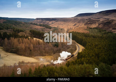 Steam train in the North York Moors National Park - Stock Photo
