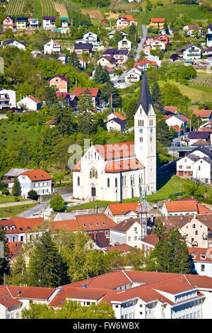 Town of Krapina church vertical view, Zagorje, Croatia - Stock Photo