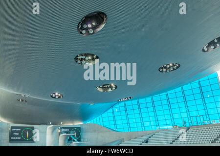 The London Aquatics Centre It was designed by Pritzker Prize-winning architect Zaha Hadid in 2004. - Stock Photo