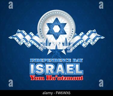 Yom Ha'atzmaut  from Hebrew language as Independence day;  National Celebration of Israel design background with - Stock Photo