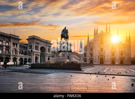 Duomo at sunrise, Milan, Italy, Europe. - Stock Photo