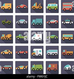 Cars, vans and other motor vehicles icons in rounded squares, flat design, long shadow - Stock Photo