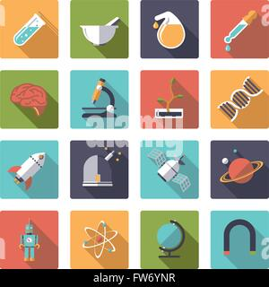 Flat design long shadow science and research themed vector icons in rounded squares - Stock Photo
