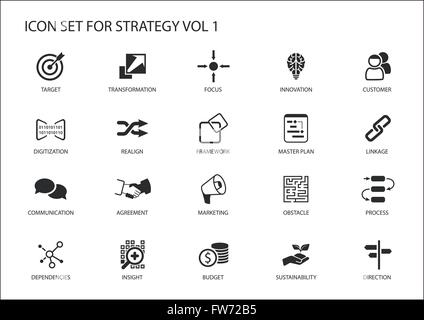 Strategy Icon Set Various Symbols For Strategic Topics Like Target