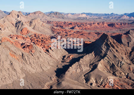 BOWL OF FIRE (aerial view). Desert Wilderness near Lake Mead National Recreation Area, Nevada, USA. - Stock Photo