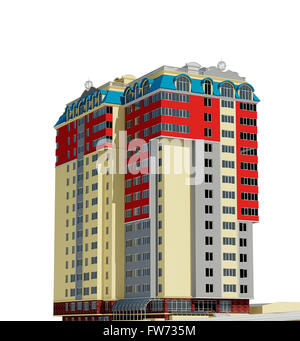 3d rendering of modern multi-storey residential building - Stock Photo