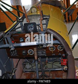 The cockpit of a WWI German Fokker D7 VII fighter Triplane in a hanger at the Military Aviation Museum in Virginia - Stock Photo