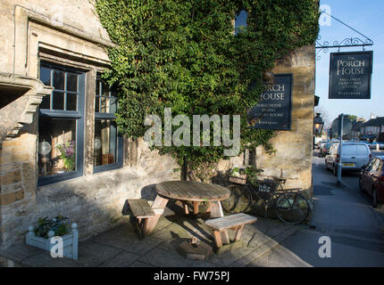 The Porch house Inn, Stow on the Wold, Gloucestershire, Cotswolds, England - Stock Photo