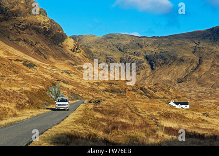 Remote cottage in Glen More, Isle of Mull, Inner Hebrides, Scotland UK - Stock Photo