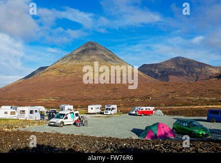 Motorhomes parked in the Sligacan Campsite, Sligachan, Ilse of Skye, Scotland UK - Stock Photo