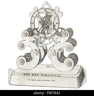 Skeleton Clock.  400 day timepiece exhibit by James Lamb, Clockmaker of Bicester, Oxon,  The Great Exhibition 1851 - Stock Photo