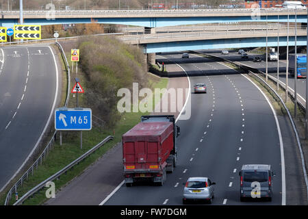 The M65 junction on the M6 Northbound at Preston in Lancashire - Stock Photo
