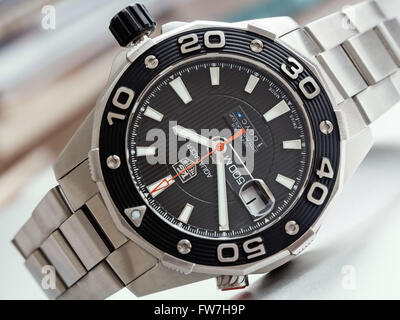 Rimini, Italy - March 04, 2016: Tag Heuer Aquaracer 500 Mens Divers Watches - Stock Photo
