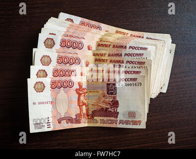 Five Thousand Russian Ruble Currency Banknotes - Stock Photo