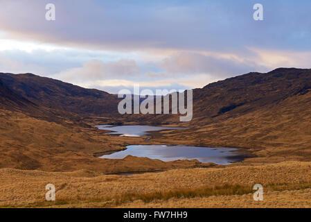 Loch an Eilein, Lochan Ellen and Loch Airdeglais in Glen More, Ilse of Mull, Inner Hebrides, Scotland UK - Stock Photo