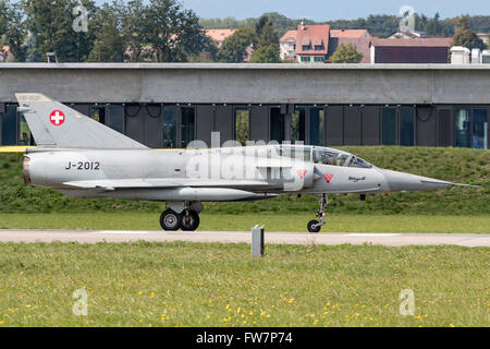 Dassault Mirage III DS fighter aircraft in Swiss Air Force markings (J-2012), the aircraft carries the civil registration - Stock Photo