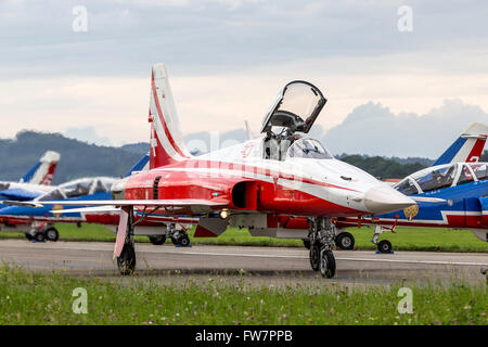 Northrop F-5 Tiger II jet aircraft of Patrouille Suisse, the formation aerobatic display team of the Swiss Air Force. - Stock Photo