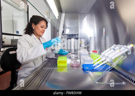Scientist in a laboratory during pipetting. - Stock Photo
