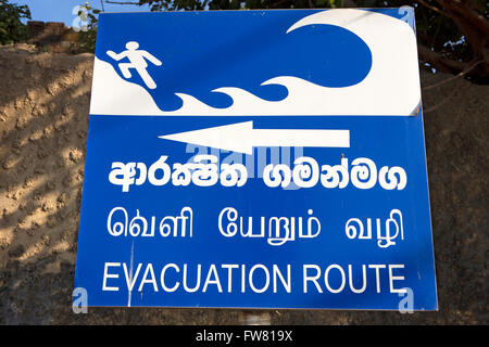 Sri Lanka, Trincomalee, Tsunami evacuation safe point sign - Stock Photo