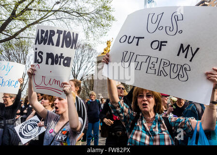 New York, USA. 31st March, 2016. Approximately 200 Pro Choice advocates rallied in Columbus Circle, outside Trump - Stock Photo