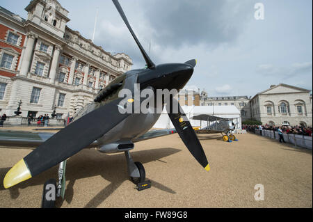 Horse Guards Parade, London, UK. 1st April, 2016. A modern-day Eurofighter Typhoon, iconic second world war Spitfire - Stock Photo