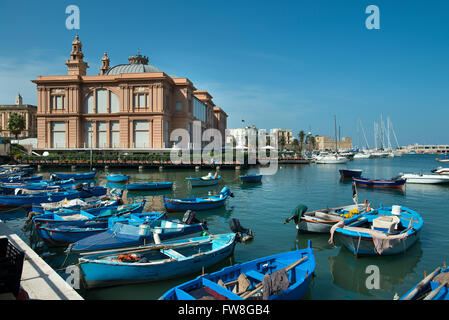 Fishing boats in Harbour, Bari, Italy - Stock Photo