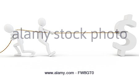 3d man pulling a dollar sign on white background - Stock Photo