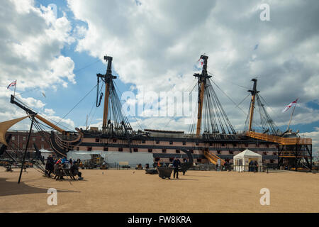 HMS Victory in Portsmouth Historic Dockyard, UK. - Stock Photo
