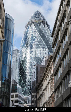 30 St Mary Axe AKA the Gherkin in the City of London, UK - Stock Photo