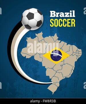 Map and Soccer ball of Brazil  on yellow background - Stock Photo