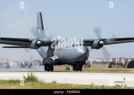 A Turkish Air Force transport aircraft Transall C-160 landing at Konya Air Base during the international Exercise - Stock Photo