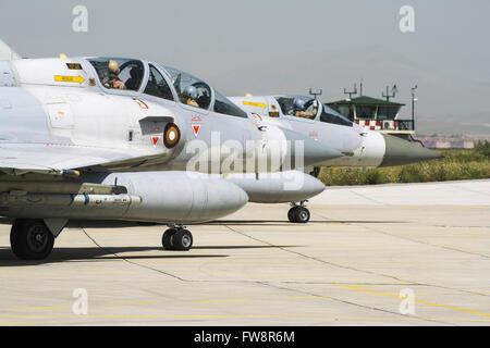 Pair of Qatar Emiri Air Force Mirage 2000-5EDA/5DDA attending the international Exercise Anatolian Eagle 2014-2 - Stock Photo